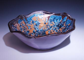 Side View Handmade Basin Sink With Wavey Bent Edge Nickel Crystal Glazed  Inside, Purple Shock