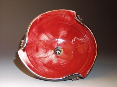 Front View Symetrical Bend Custom Hand Made Sink Red Glaze Inside Oilspot  Glaze Outside.